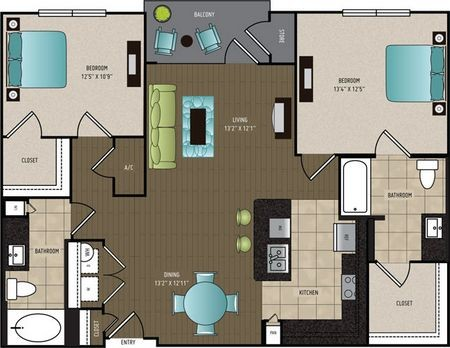 1,138 sq. ft. B1 ALT floor plan