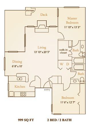 999 sq. ft. B2 floor plan