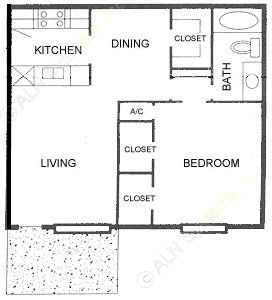 714 sq. ft. C floor plan