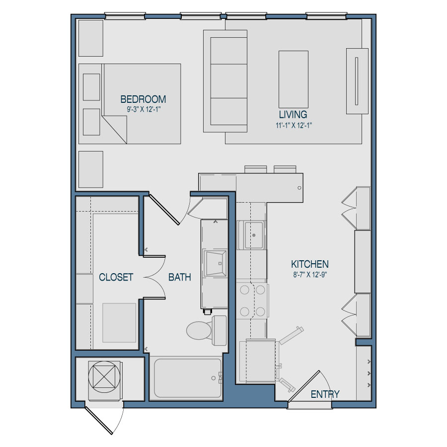 565 sq. ft. S1 floor plan
