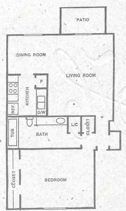 646 sq. ft. A2 floor plan