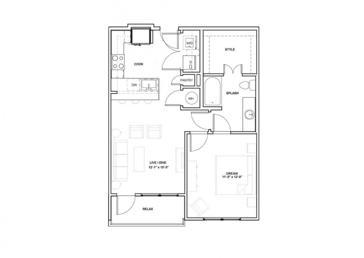 725 sq. ft. Ellum floor plan