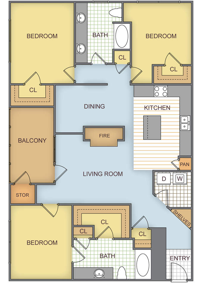 1,344 sq. ft. Pinemeadow floor plan