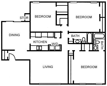 1,476 sq. ft. C floor plan