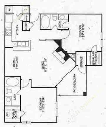 1,069 sq. ft. B1 floor plan