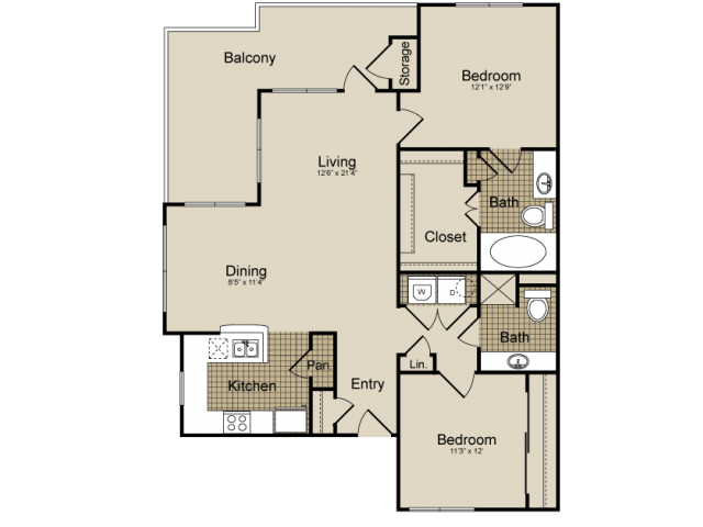 1,207 sq. ft. Vela    (B4) floor plan
