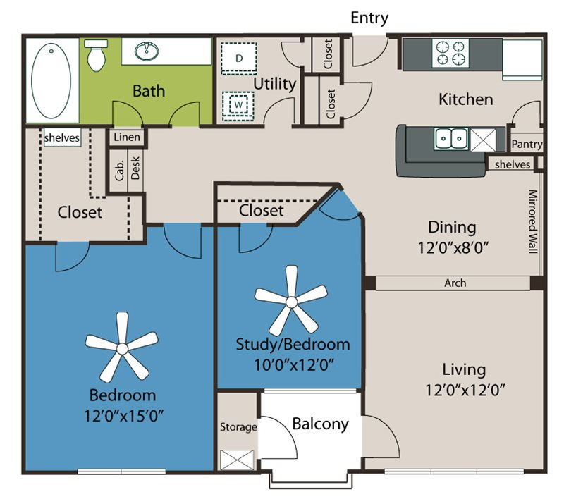 989 sq. ft. A4 floor plan