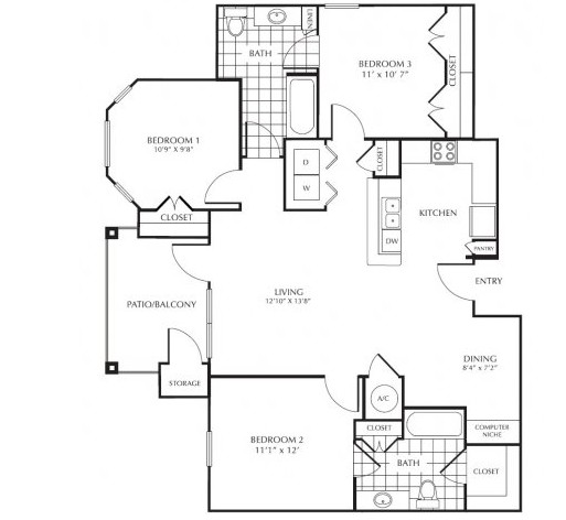 1,286 sq. ft. H1 floor plan
