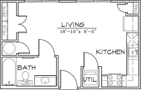 381 sq. ft. floor plan