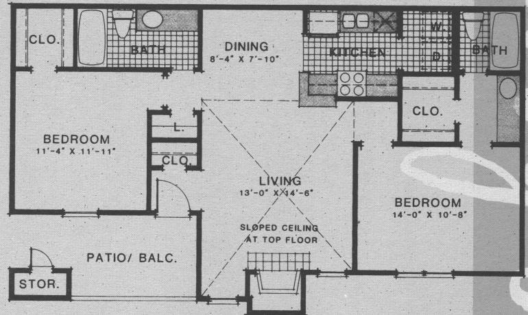 943 sq. ft. B3 floor plan