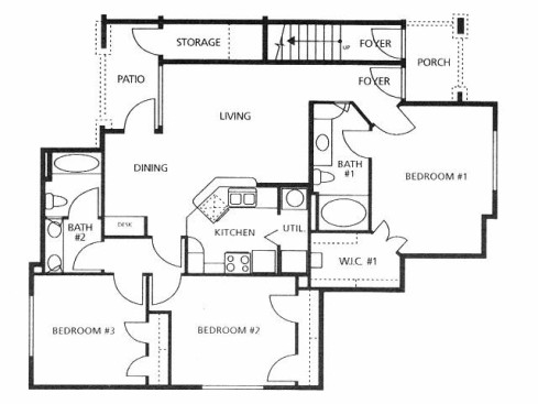 1,194 sq. ft. C1/50% floor plan