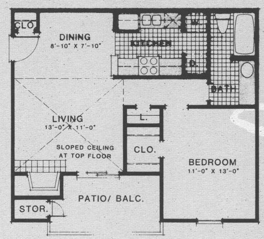 636 sq. ft. A6 floor plan