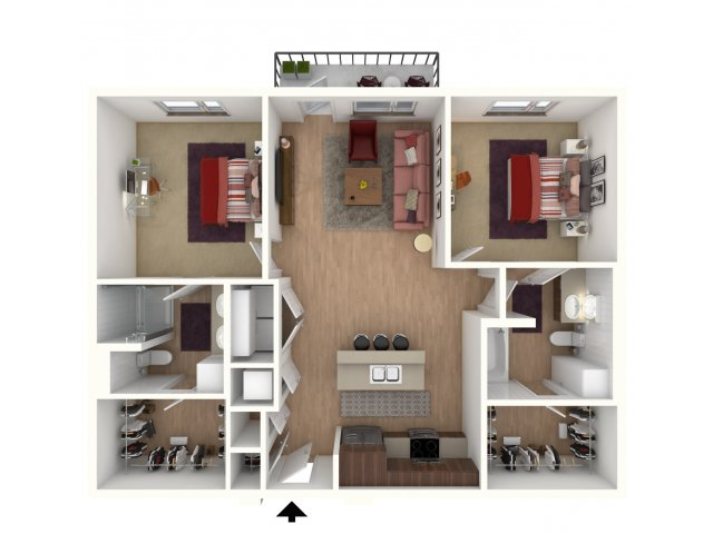 999 sq. ft. Ecplise Furnished floor plan