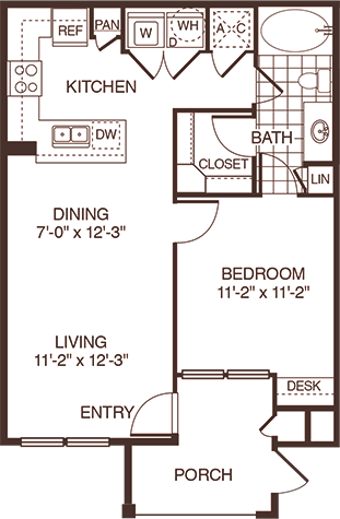 673 sq. ft. Brazos floor plan