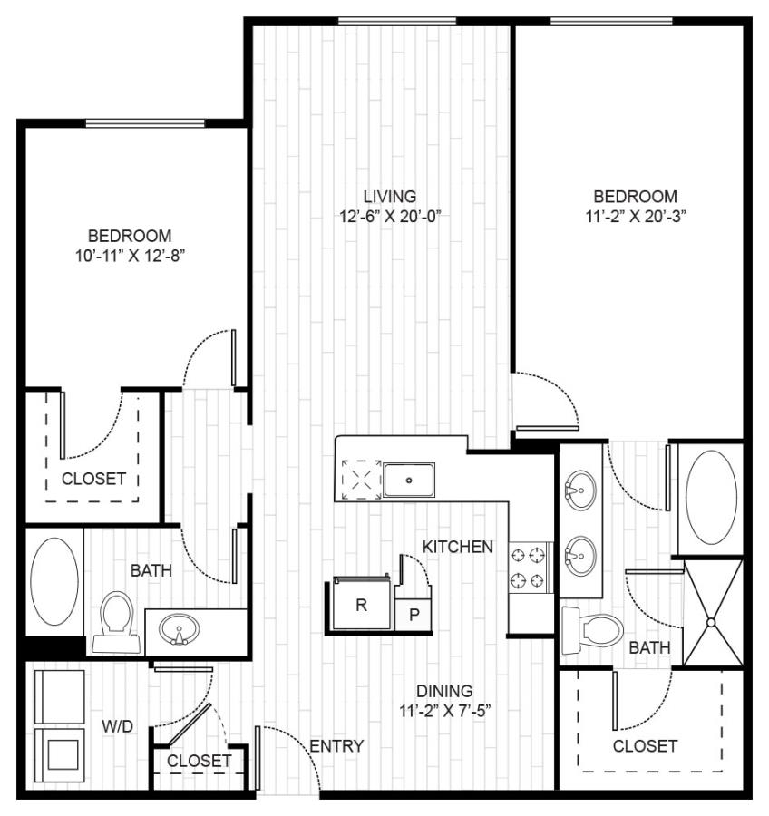 1,324 sq. ft. B2B floor plan