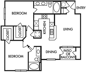 1,016 sq. ft. E floor plan