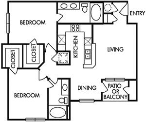 1,016 sq. ft. E floor plan