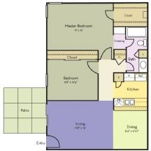 930 sq. ft. Azalea floor plan