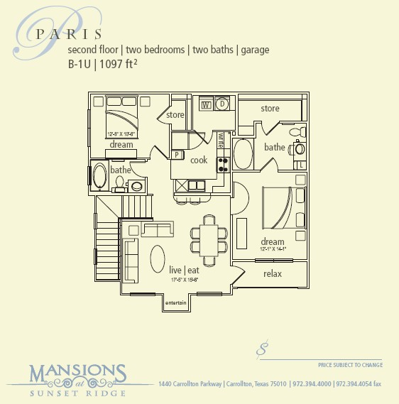 1,097 sq. ft. Paris floor plan