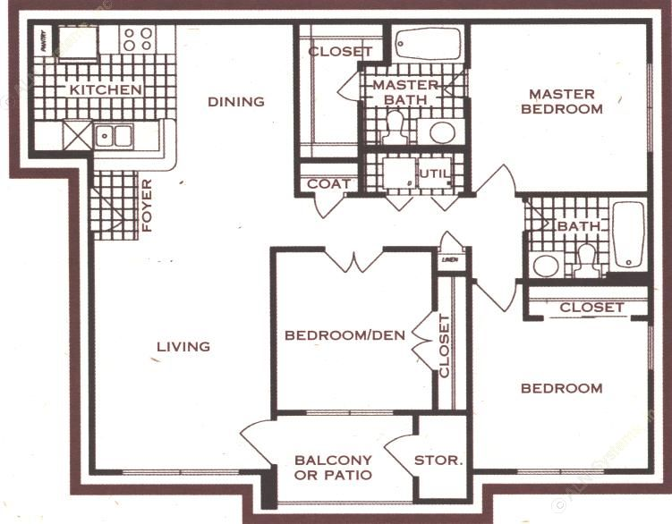 1,161 sq. ft. floor plan