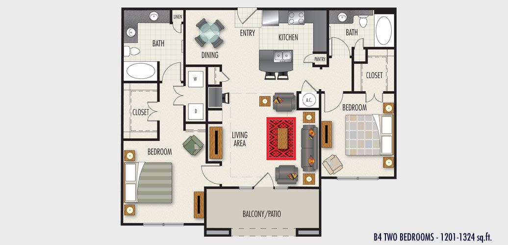 1,201 sq. ft. to 1,348 sq. ft. B4 floor plan