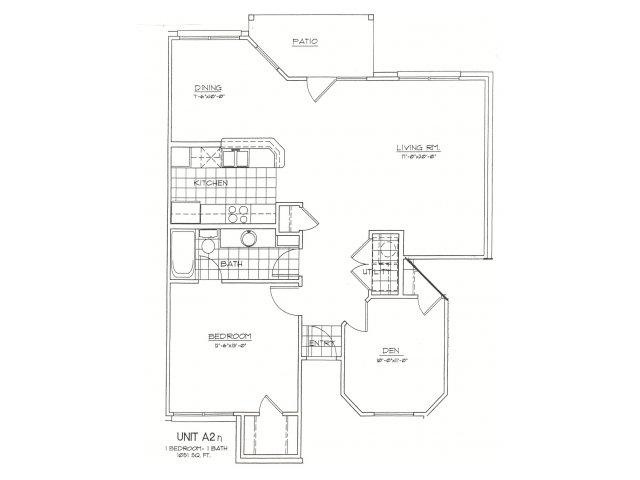 1,051 sq. ft. A2N floor plan