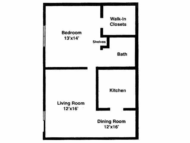 700 sq. ft. 1A floor plan