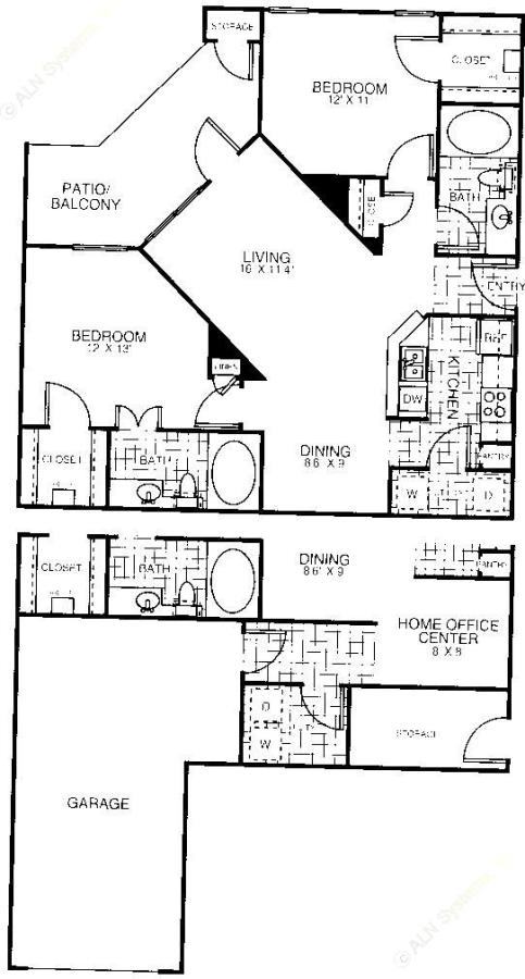 1,019 sq. ft. B2A floor plan