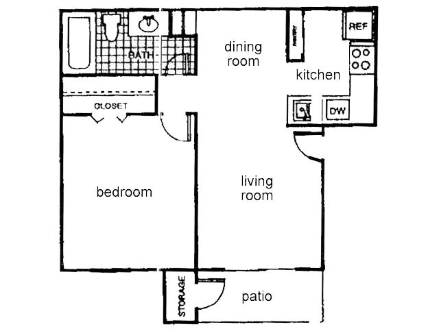 546 sq. ft. A1 floor plan