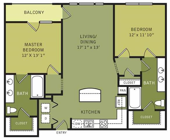 1,112 sq. ft. floor plan