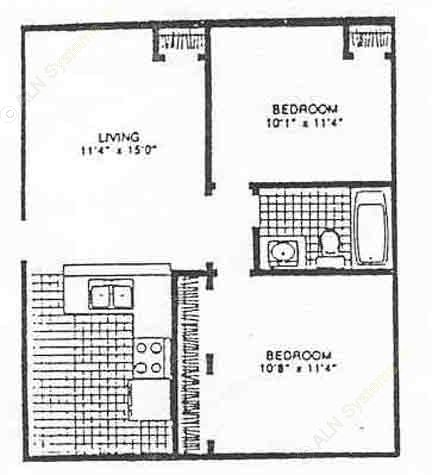 725 sq. ft. to 775 sq. ft. floor plan