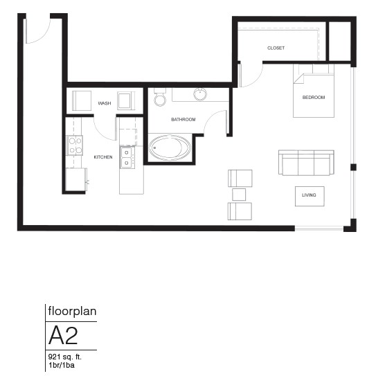 921 sq. ft. A2 floor plan