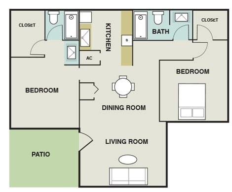 862 sq. ft. B3 floor plan