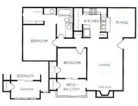941 sq. ft. B1S floor plan