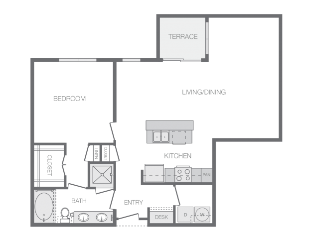 993 sq. ft. K floor plan