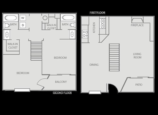 1,093 sq. ft. Ascot/50% floor plan