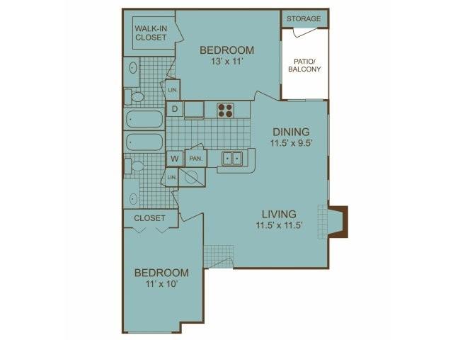 844 sq. ft. B1 floor plan