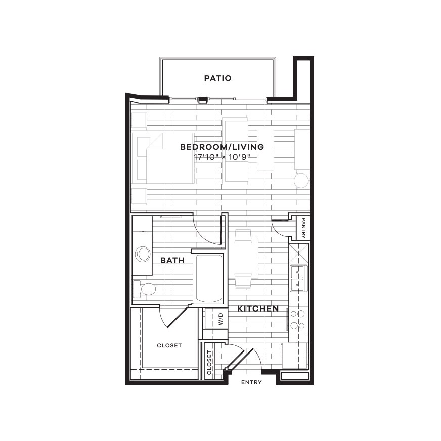 527 sq. ft. E2 floor plan