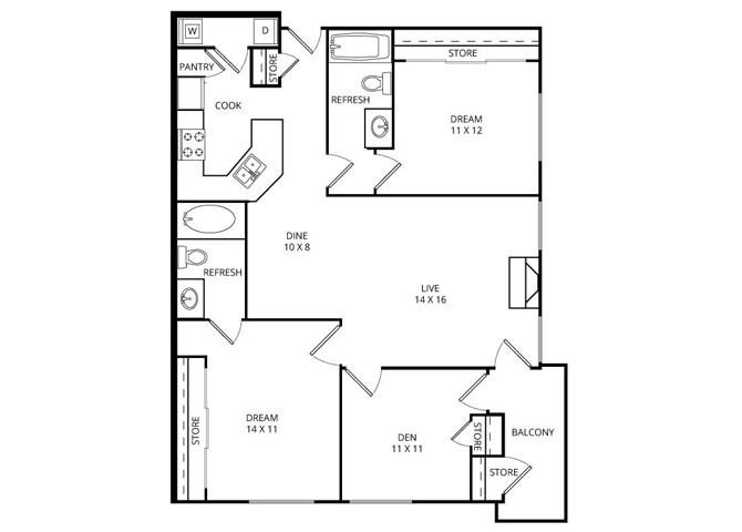 1,182 sq. ft. Reef floor plan