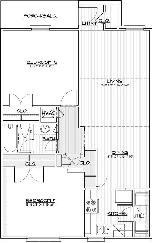 968 sq. ft. 60% floor plan