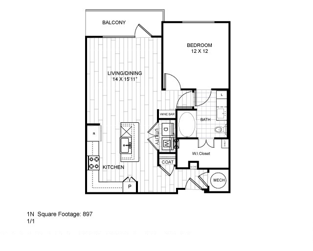 897 sq. ft. 1N floor plan