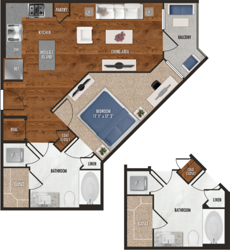 648 sq. ft. to 674 sq. ft. A9 floor plan