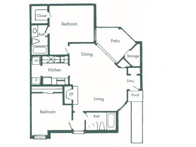1,026 sq. ft. D floor plan