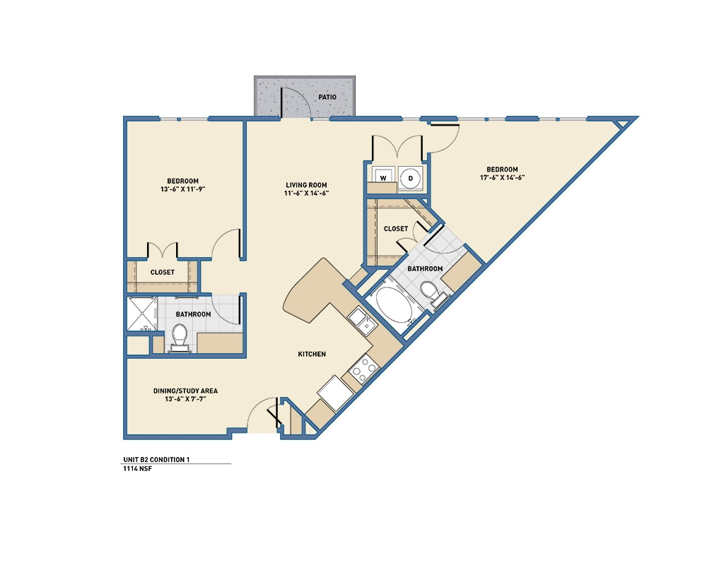 1,070 sq. ft. to 1,174 sq. ft. B2 floor plan