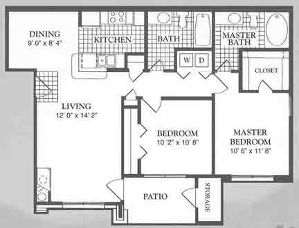 950 sq. ft. Vista floor plan