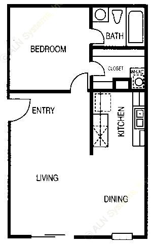 601 sq. ft. A1 floor plan