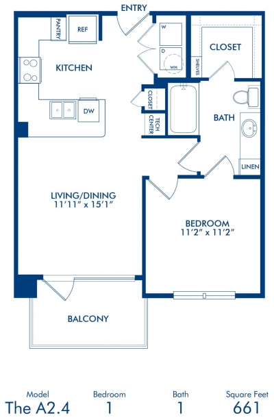 661 sq. ft. A2.4 floor plan