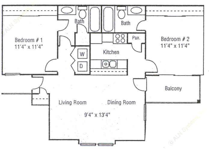 890 sq. ft. B2 floor plan