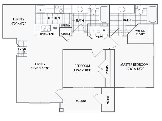 1,005 sq. ft. B2 floor plan