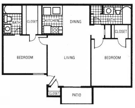 823 sq. ft. B2 floor plan